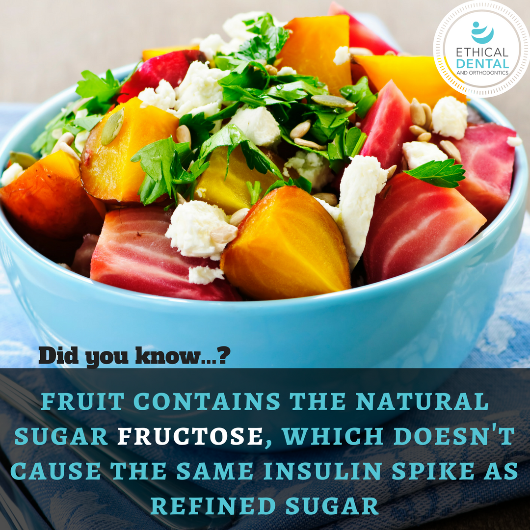 Fruit contains the natural sugar fructose, which doesn't cause the same insulin spike as refined sugar.